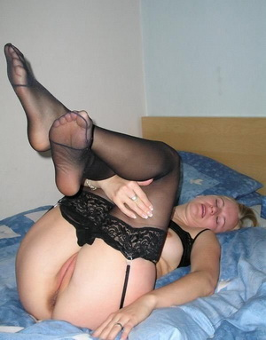 Hot GF slips on her favourite stockings and sucks her man